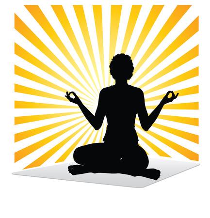 reiki: Silhouette di una donna pratica di yoga e Reiki di auto-guarigione Vettoriali