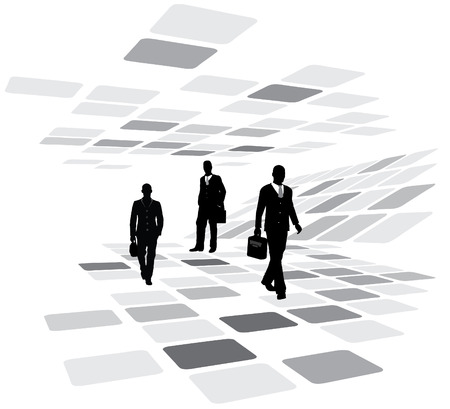 Walking business people in the motion - vector illustration