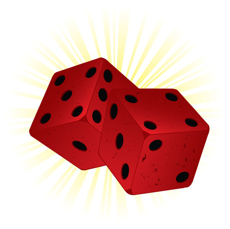 toke: Vector gambling illustration with two red vintage dice on shiny background.