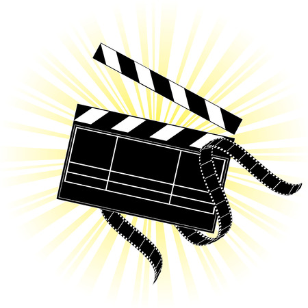 camera film: Vector movie equipment - film strip and clapper on shiny background