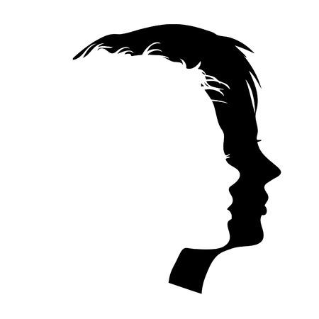 visage femme profil: Profils de vecteur homme et femme de faces