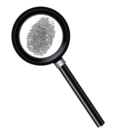 Vector magnifier and fingerprint isolated on a white background