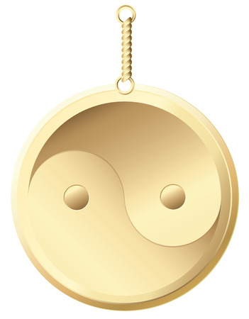 yinyang: Vector yin yang golden amulet, symbol of harmony and balance Illustration