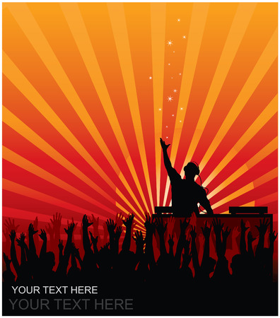 Dj cheering audience vector background Illustration