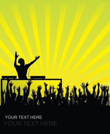 Dj cheering audience background Vector