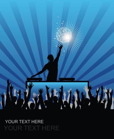 Dj cheering audience background Stock Vector - 6364875