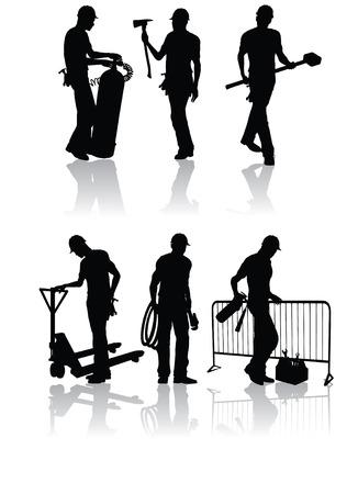 ingenieurs: Geïsoleerde bouw arbeiders silhouetten met verschillende instrumenten