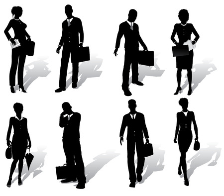 show case: Isolated business people silhouettes