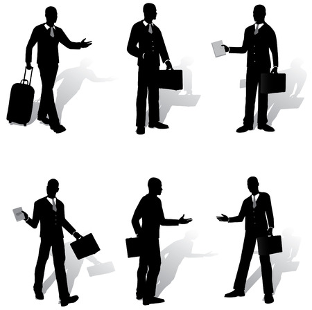 show case: Isolated business people  silhouettes Illustration