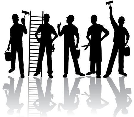 Geïsoleerde werknemers silhouetten met hulp middelen