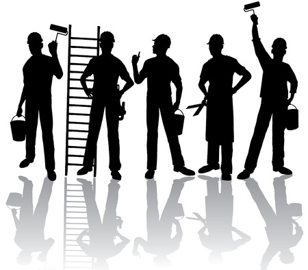 Isolated workers  silhouettes with tools Vector