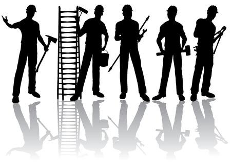 ingenieurs: Geïsoleerde werknemers silhouetten met hulp middelen
