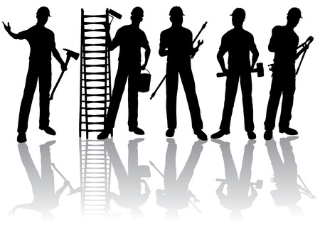 Isolated workers silhouettes with tools