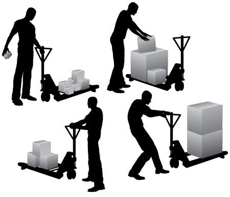 manejar: Trabajadores con Apilador de paletas de carga y transporte de cajas de cart�n Vectores