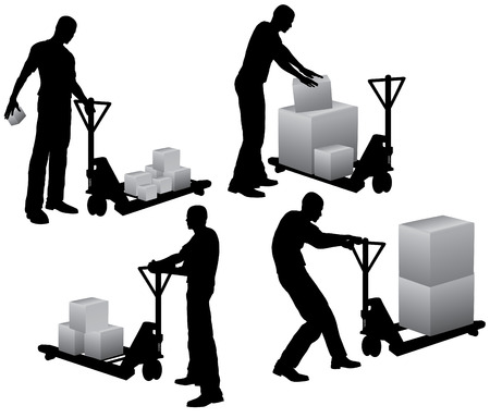 Workers with pallet stacker loading and carrying cardboard boxes Vector