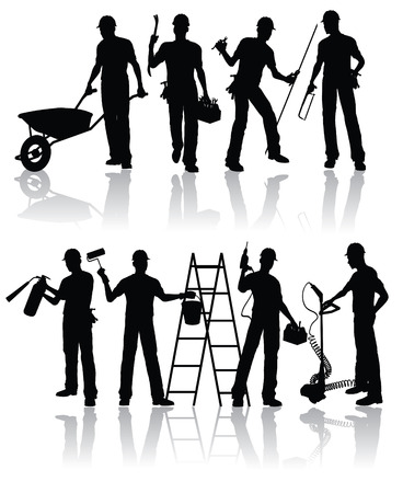 craftsmen repair: Construction workers  silhouettes Illustration