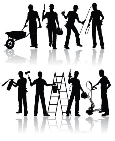 artesano: Siluetas de los trabajadores de construcci�n