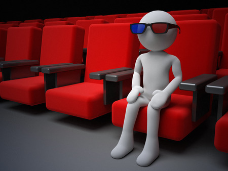 3D human sitting on a armchair in the cinema photo
