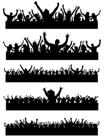 children silhouettes: Vector party people (high details)