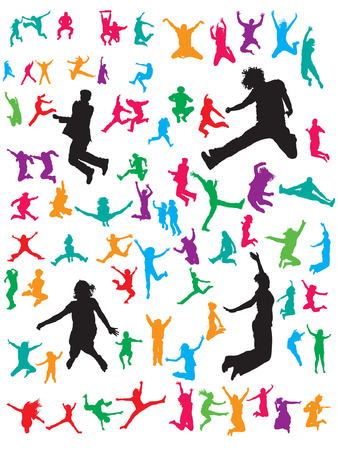 Vector Jumping People Illustration