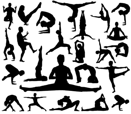 abdominal exercise: Vector Yoga Positions (high details)