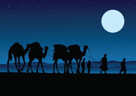 Camel Caravan 矢量图像