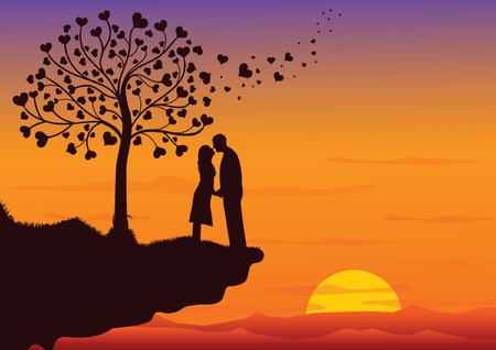 Couple Kissing into the nature Vector