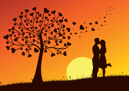 Couple Kissing into the nature Stock Vector - 6397452