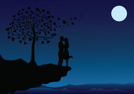 Couple Kissing into the night Vector