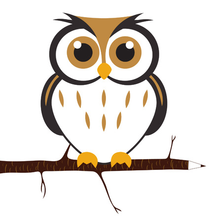 owl on branch: Cute Owl Illustration