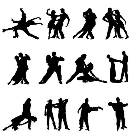 couple dancer silhouettes Vettoriali