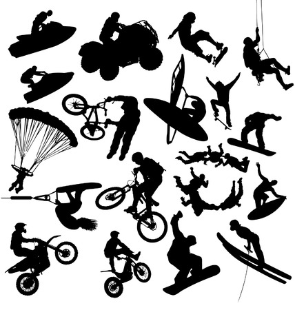 paragliding: Extreme Sport Silhouettes