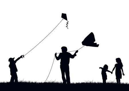 papalote: Familia cometa voladora Vectores
