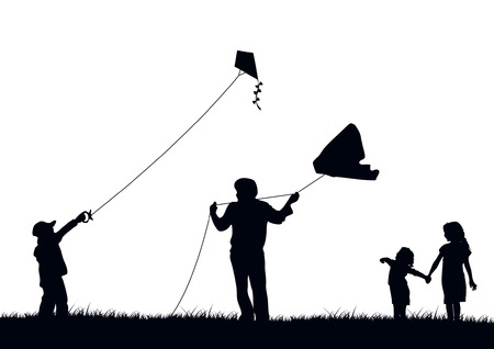 kite: Family flying kite Illustration