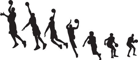 dunk: Basketball sequence silhouettes