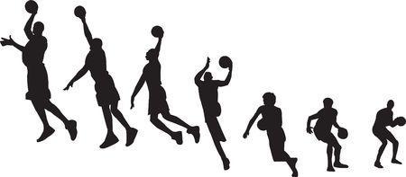 Siluetas de secuencia de baloncesto  Foto de archivo - 6788359
