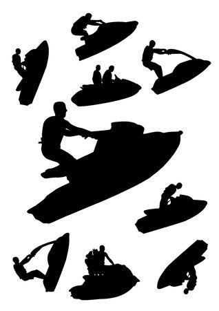 moto acuatica: siluetas de Jet ski Vectores