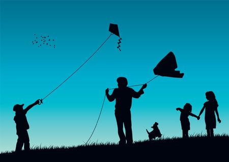 Family flying kite Illustration