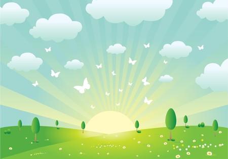Spring Landscape  イラスト・ベクター素材
