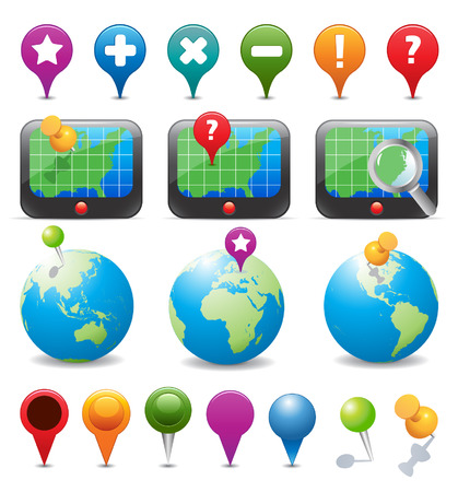 map marker: GPS Navigation Icons Illustration