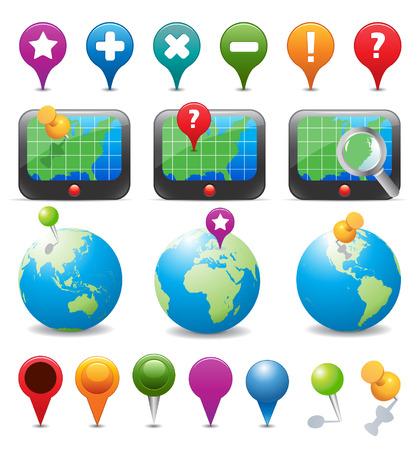 map pin: GPS Navigation Icons Illustration