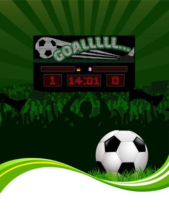 Vector Soccer fans and scoreboard Vector