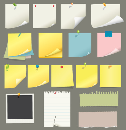 yellow tacks: paper and post-it collection