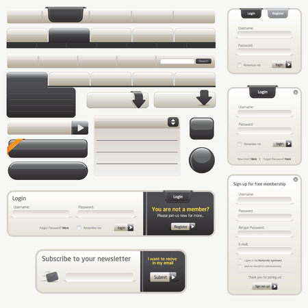 rectangle button: Black Website Design Elements