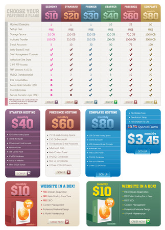 price: Hosting Pricing Tables and Banners