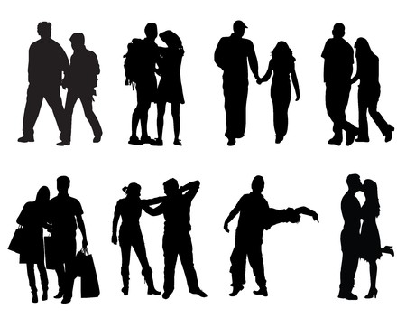 happy couple: Couple Silhouettes