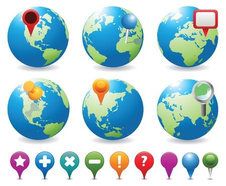 Globe an Navigation Icons Stock Vector - 7562568