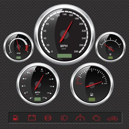 chilometro: Indicatori di auto sportive Vettoriali
