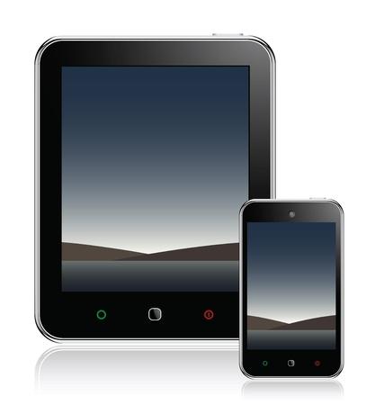 mobil: Tablet Computer & mobiele telefoon Stock Illustratie