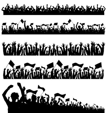 Crowd Silhouettes Vettoriali